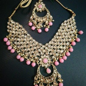 trendy Choker Necklace Set (Pink)